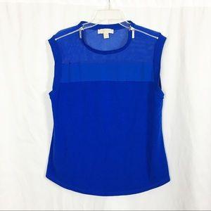 Michael Kors blue zippered mesh serial tank top XL